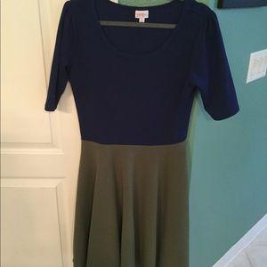 Lularoe Nicole dress, size large color block
